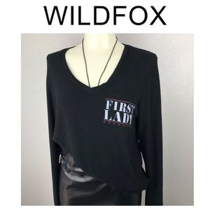WILDFOX 'First Lady' Black V Neck Sweater Small